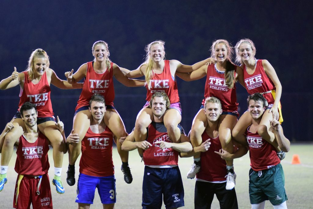 TKE's co-rec flag football team post-win.
